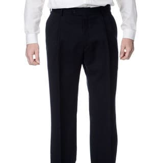 Palm Beach Men's Navy Stretch Waist Pleated Front Pants