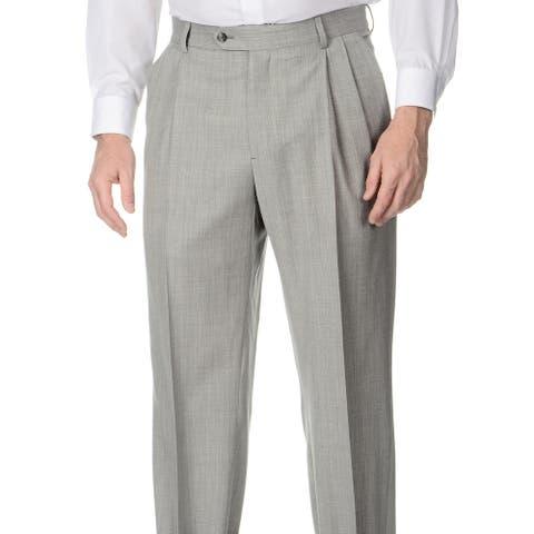 Palm Beach Men's Big & Tall Grey Stretch Waist Pleated Front Pants