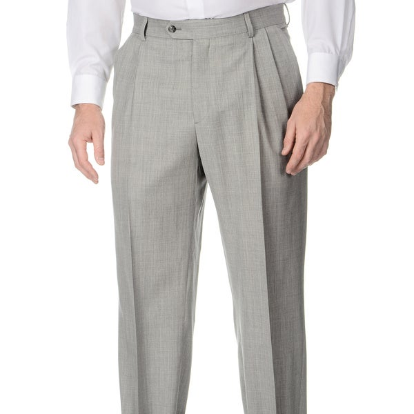 Palm Beach Mens Big & Tall Grey Stretch Waist Pleated Front Pants