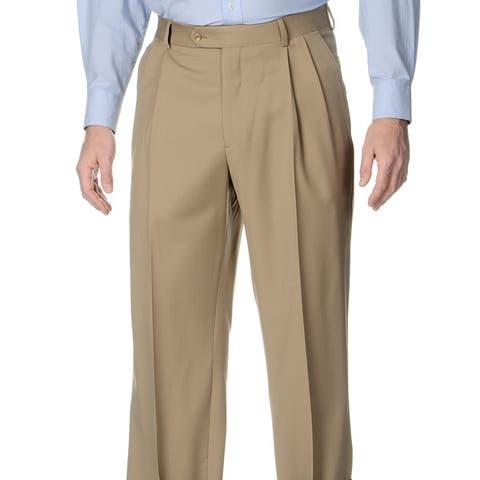 Palm Beach Men's Tan Stretch Waist Pleated Front Pants
