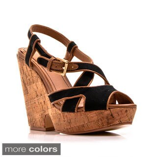 Gomax Women's 'Hey There-01' Two-tone Chunky Cork Heel Sandals