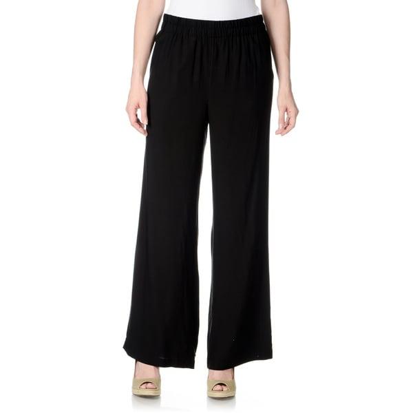 Chelsea & Theodore Women's Solid Black Palazzo Pants