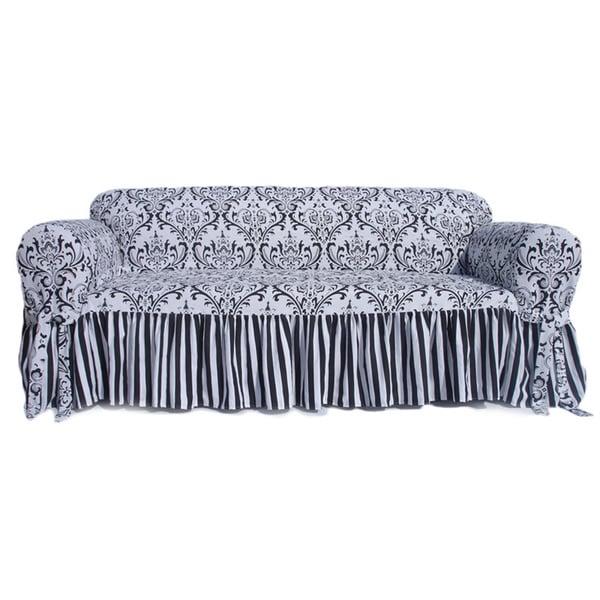 Damask Stripe Ruffled Sofa Slipcover