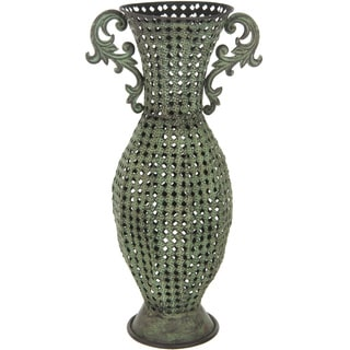 Handmade Green Wrought Iron Perforated Floral Vase (China)
