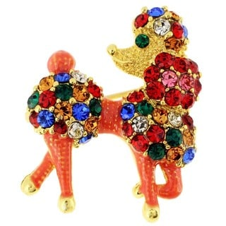 Poodle Dog Multicolor Crystal Pin