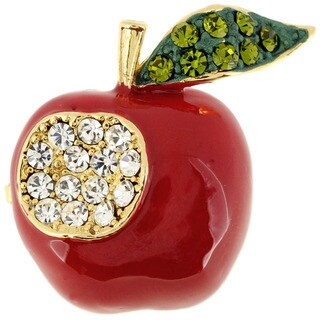 Red Apple Crystal and Enamel Brooch