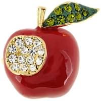 Red Apple Crystal and Enamel Brooch