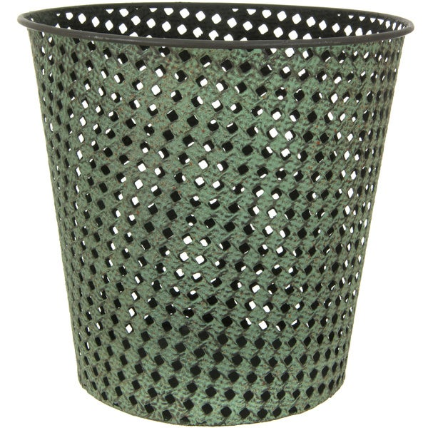 Handmade Green Wrought Iron Perforated Round Waste Basket (China)