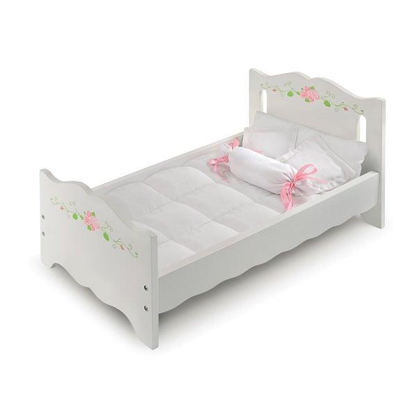 Badger Basket White Painted Rose Doll Bed