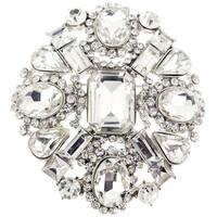 Clear Crystal-encrusted Flower Brooch