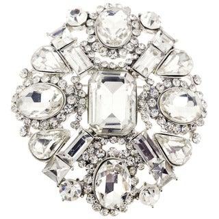 Clear Crystal-encrusted Flower Brooch