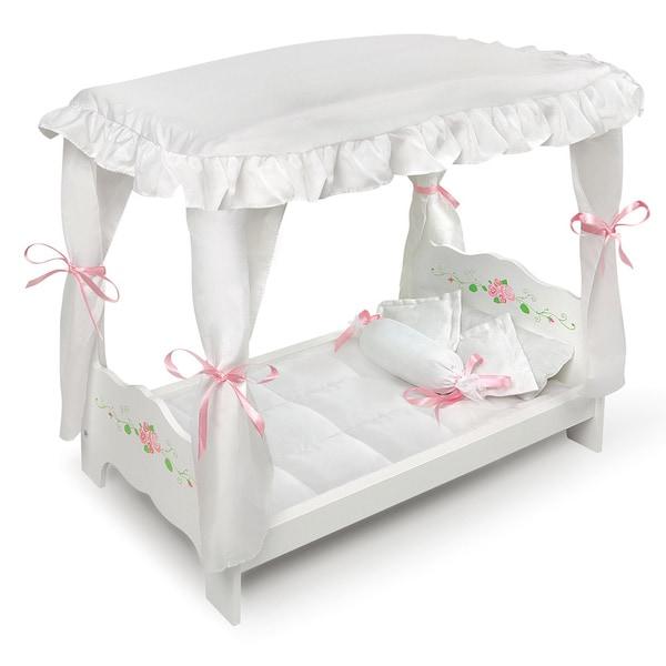 Badger Basket White Rose Doll Canopy Bed