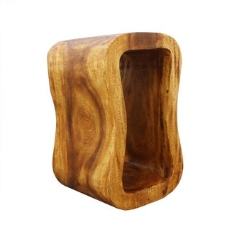 """Handmade Wood Wave Bench (Thailand) or End Table - 24"""" x 13.5"""" x 15"""" - 24"""" x 13.5"""" x 15"""""""