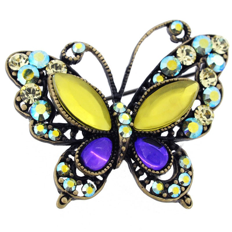 Yellow And Purple Crystal Butterfly Brooch (Butterfly Bro...