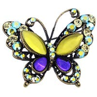 Yellow And Purple Crystal Butterfly Brooch
