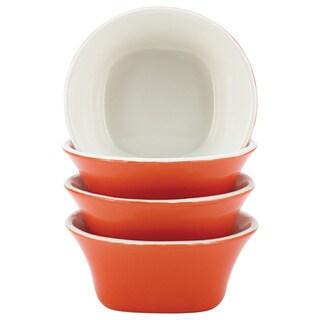 Rachael Ray Dinnerware Round & Square 4-piece Orange Stoneware Fruit Bowl Set