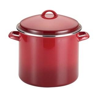 Rachael Ray Enamel on Steel 12-quart Red Gradient Covered Stockpot