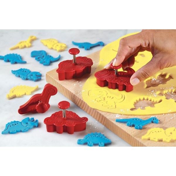 Cake Boss Decorating Tools Red Dinosaur 4-piece Fondant Press Set