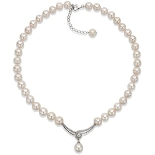 DaVonna Sterling Silver 10 - 11mm White Freshwater Pearl 18-inch Necklace with 2-inch Extension