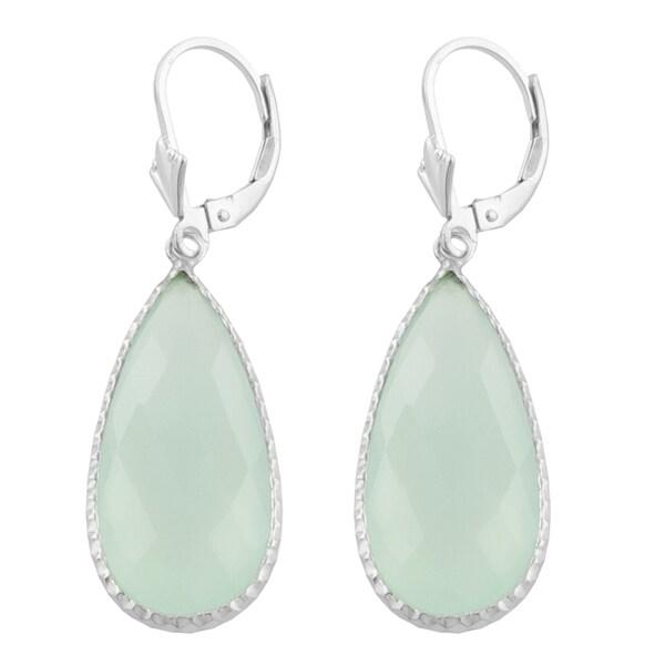 Fremada Sterling Silver Pear-shaped Aqua Chalcedony Dangle Earrings. Opens flyout.