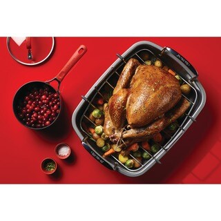 Circulon Nonstick Steel Bakeware 17-inch x 13-inch Roaster with U-rack
