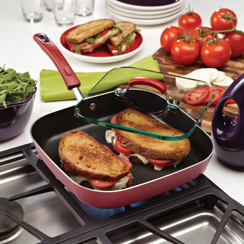 Rachael Ray Hard Enamel Nonstick 11-inch Red Gradient Square Deep Griddle and Glass Press