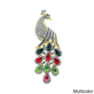 Vintage Crystal Peacock Brooch