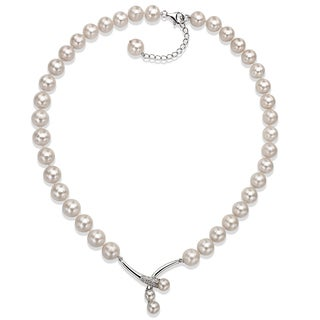 DaVonna Sterling Silver White Freshwater Pearl 18 Inch Necklace 10 11 Mm