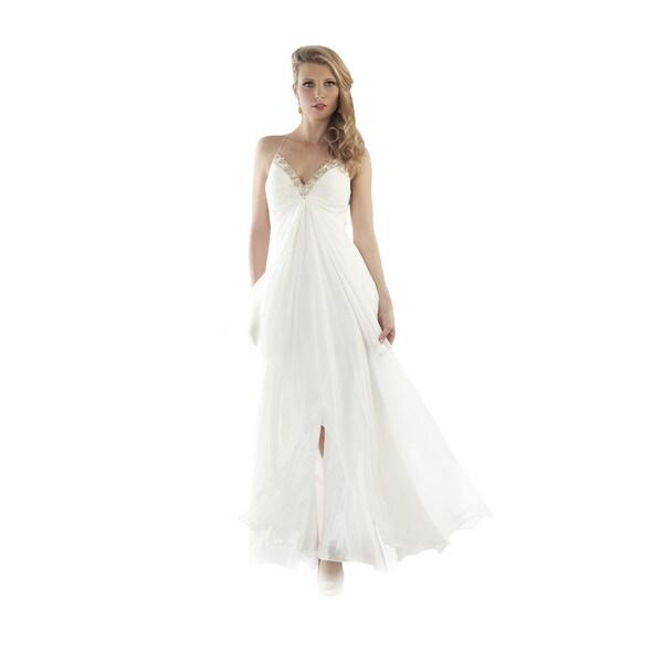 Shop Daniella Women's White Chiffon Beaded Mesh-back Gown