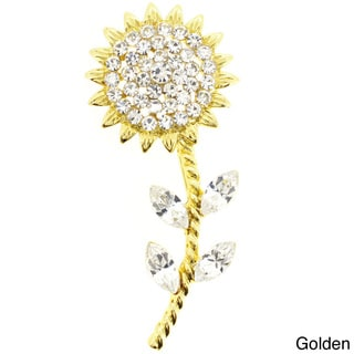 Golden Multi-color Crystal Sunflower Pin Brooch