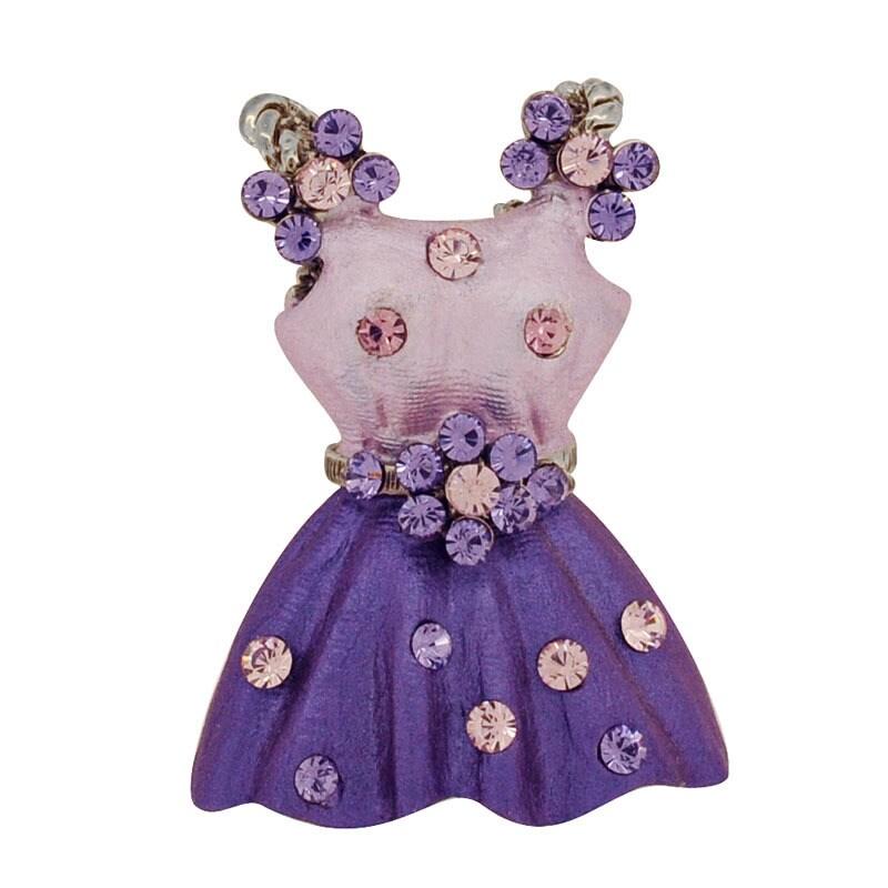 Base Metal Crystal Purple Dress Flower Belt Pin (Purple D...