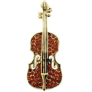Base Metal Brown Crystal Vintage Style Violin Pin Brooch