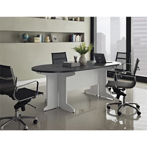 Ameriwood Home Pursuit White/ Grey Small Conference Table Bundle