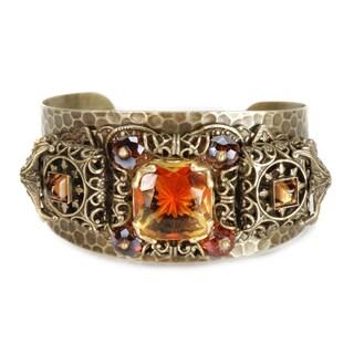 Sweet Romance Vintage Topaz Zeuss Victorian Renaissance Hammered Cuff Bracelet