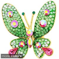 Base Metal Multi-color Crystal Butterfly Pin Brooch Pendant