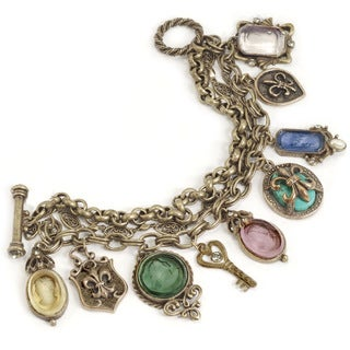 Sweet Romance Fleur de Lis French Intaglio Cameo Charm Bracelet
