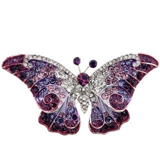 Base Metal Crystal Purple Butterfly Pin Brooch