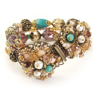 Sweet Romance Floral Beaded 1950's Style Bracelet
