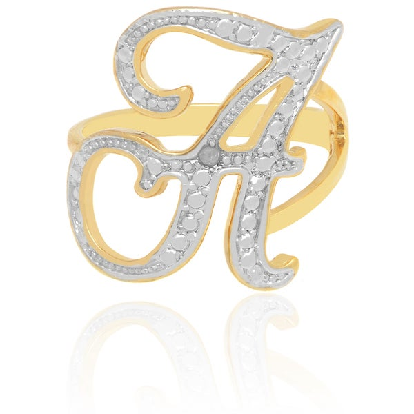 Finesque 18k Yellow Gold Overlay Diamond Accent A to Z Option Initial Ring