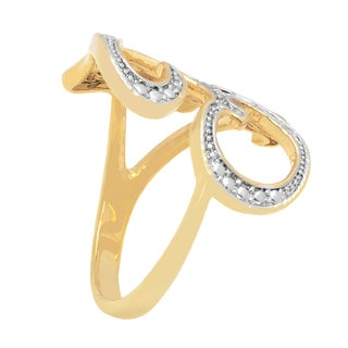 Finesque 18k Yellow Gold Overlay Diamond Accent Initial Ring