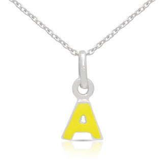 Molly and Emma Sterling Silver Yellow Enamel Initial Necklace
