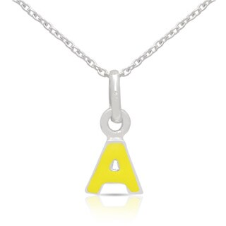 Molly and Emma Sterling Silver Yellow Enamel A to Z Option Initial Necklace
