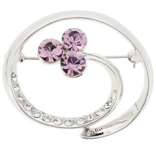 Base Metal Purple Crystal Swirl Pin Brooch