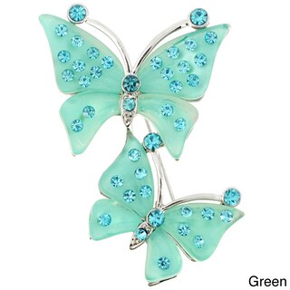 Base Metal Crystal Couple Butterfly Pin Brooch (Option: Green)
