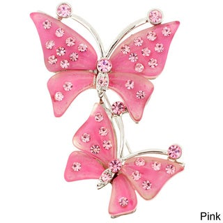 Base Metal Crystal Couple Butterfly Pin Brooch
