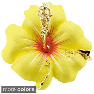 Base Metal Multi-color Crystal Hawaiian Hibiscus Pin Brooch