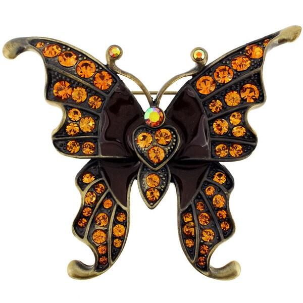 Brown Gemstone and Black Enamel Butterfly Pin Brooch