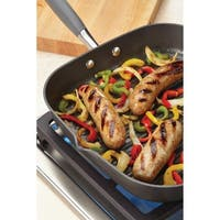 Anolon Advanced Hard-anodized Nonstick 11-inch Grey Deep Square Grill Pan with Pour Spouts