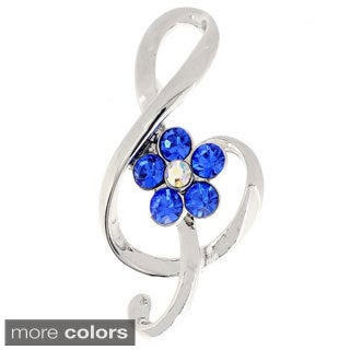 Sapphire Crystal Music Note Pin Brooch