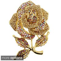 Antiqued Gemstone Rose Pin Brooch